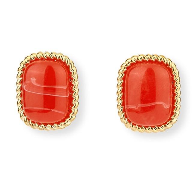 Pomelo Metal Framed Stud Earrings - Red #32640